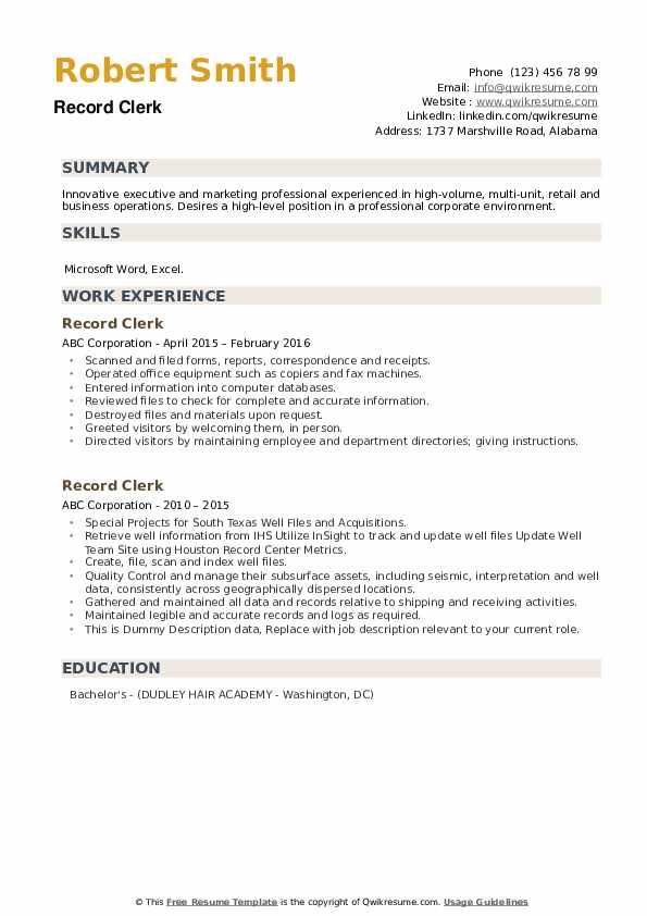 Record Clerk Resume example