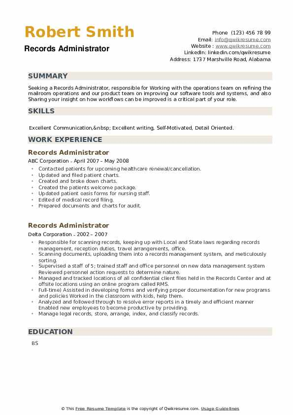 Records Administrator Resume example