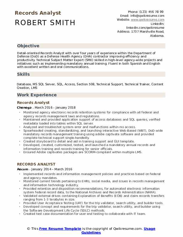 Records Analyst Resume Model