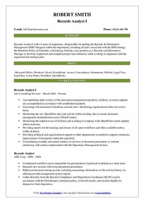 Records Analyst I Resume Format