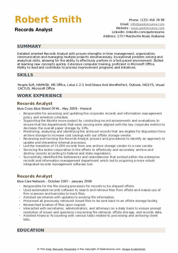 Records Analyst Resume example