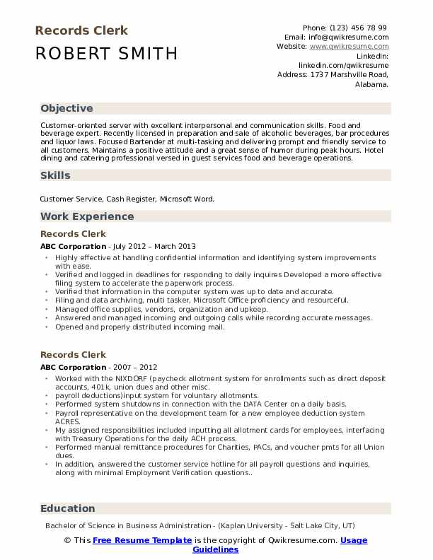 Legal records clerk resume popular article review writers services