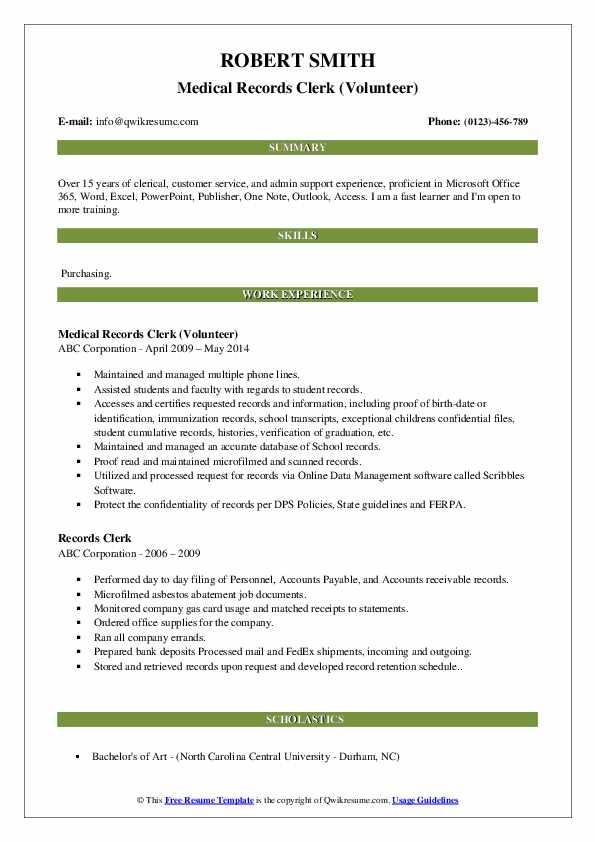 Records Clerk Resume Samples | QwikResume