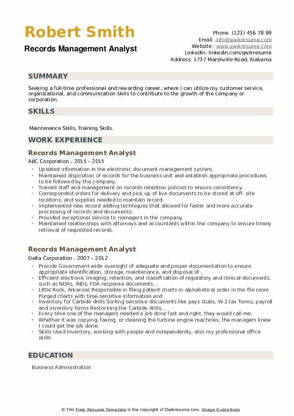Records Management Analyst Resume example