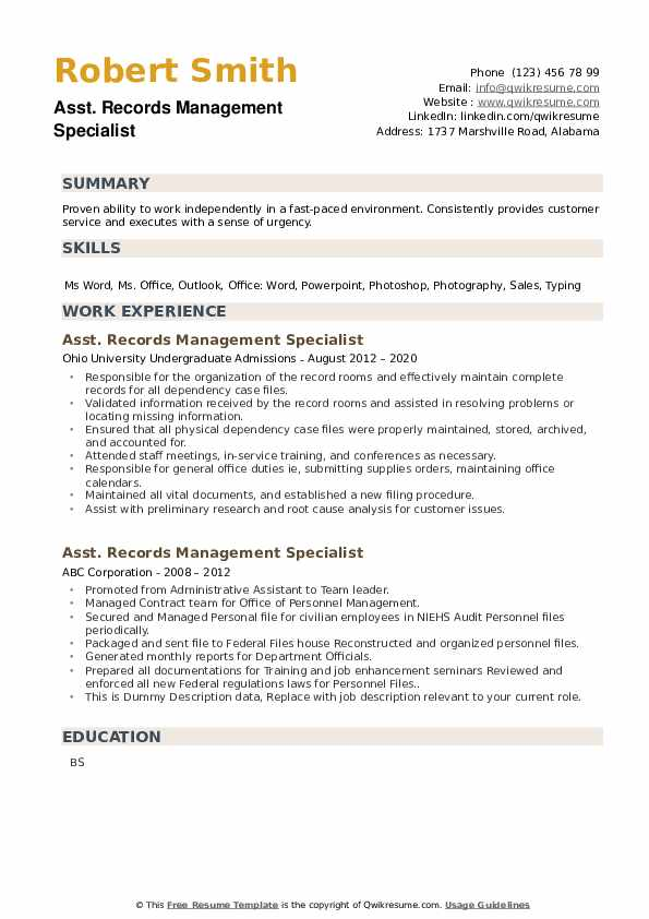 Records Management Specialist Resume example