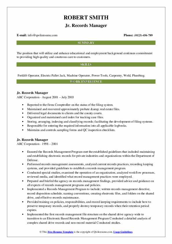 Records Manager Resume Samples Qwikresume