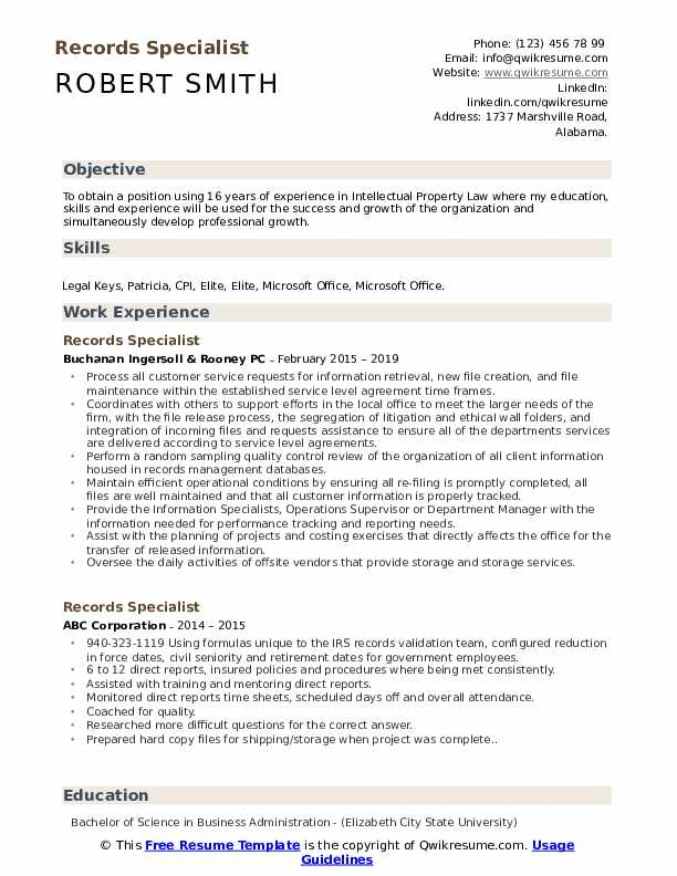 Records Specialist Resume Model