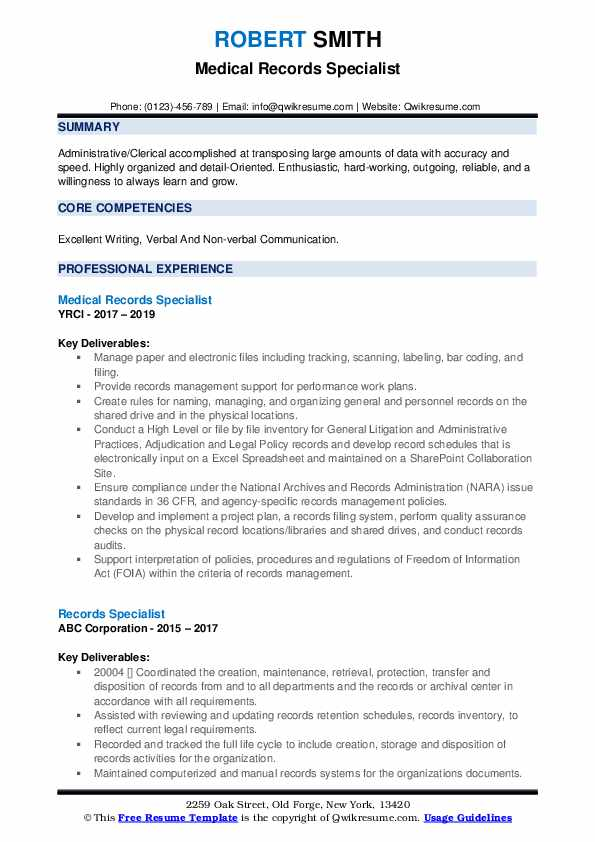 Medical Records Specialist Resume Template