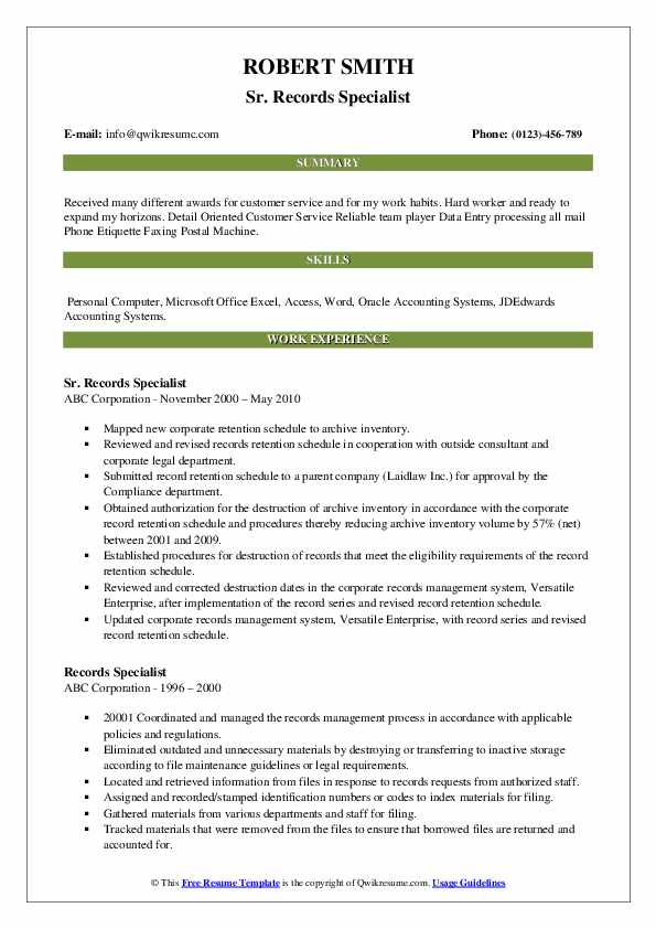 Sr. Records Specialist Resume Format