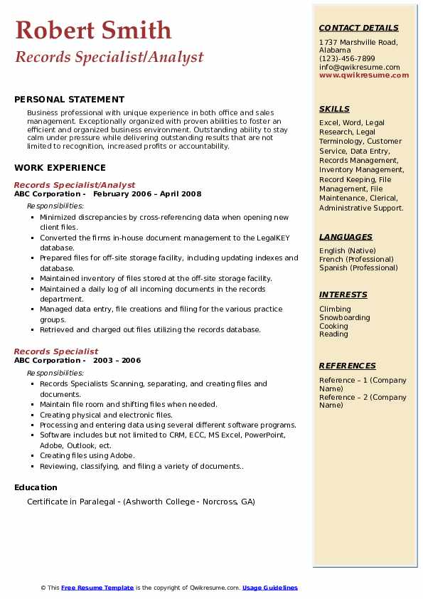 Records Specialist/Analyst Resume Template