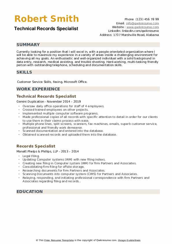 Technical Records Specialist Resume Example