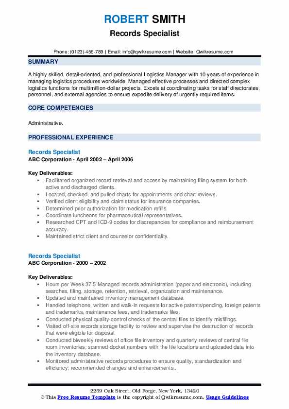 Records Specialist Resume example