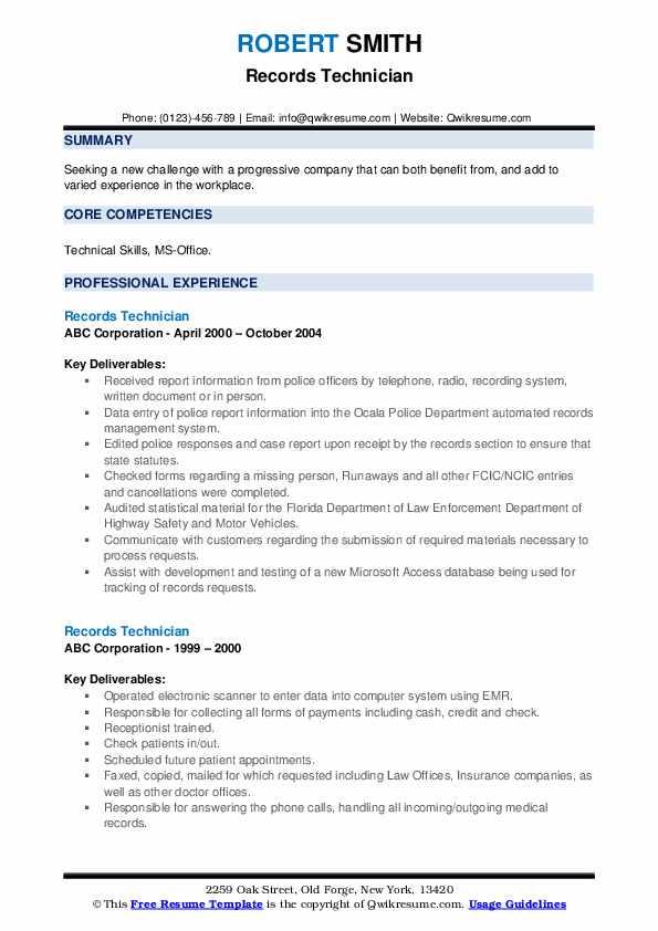 Records Technician Resume example
