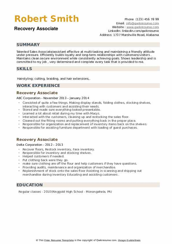Recovery Associate Resume example
