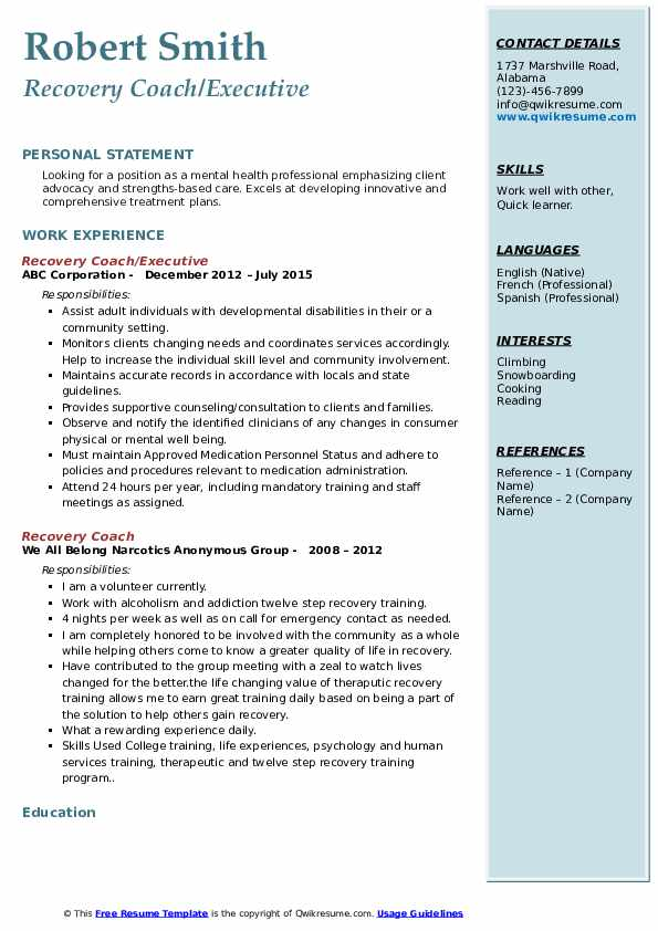 recovery coach resume samples