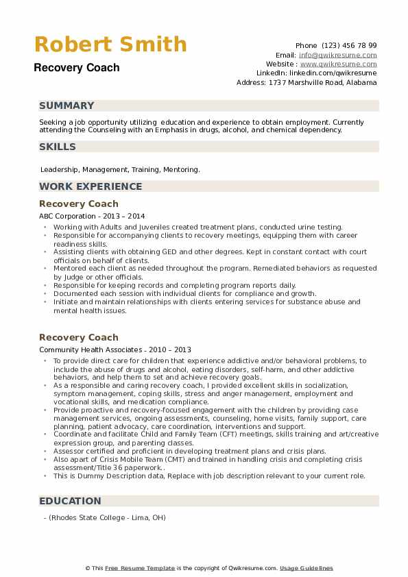 Recovery Coach Resume example