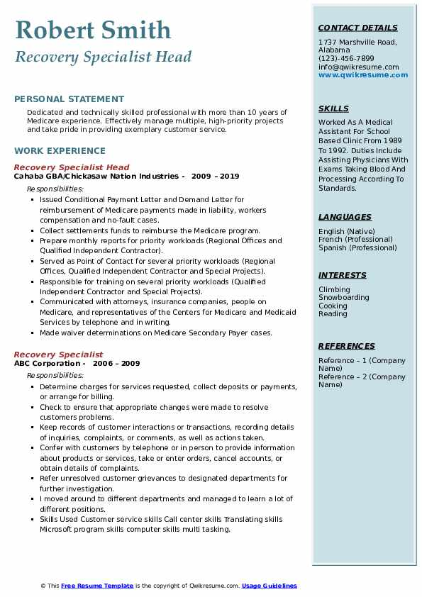 Recovery Specialist Head Resume Sample