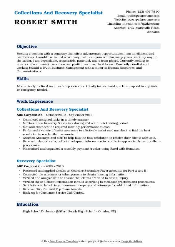 Collections And Recovery Specialist Resume Example