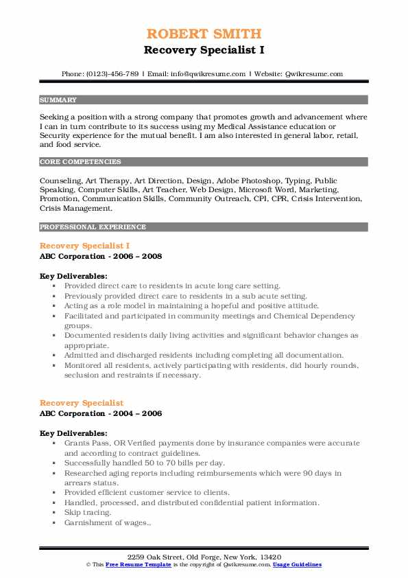 Recovery Specialist Resume Samples | QwikResume