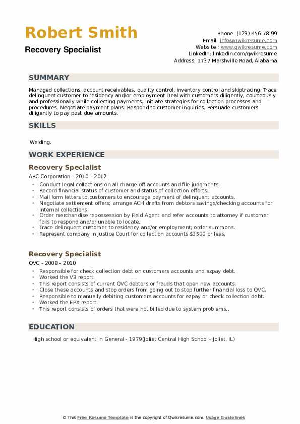 Recovery Specialist Resume Example
