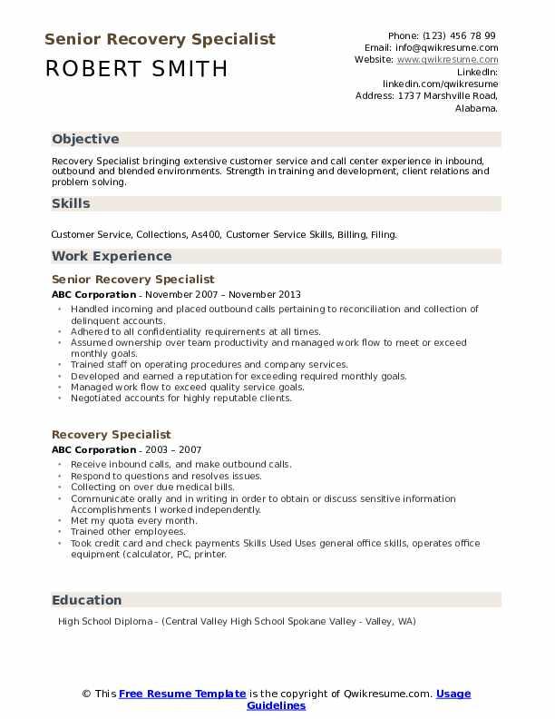 Senior Recovery Specialist Resume Sample