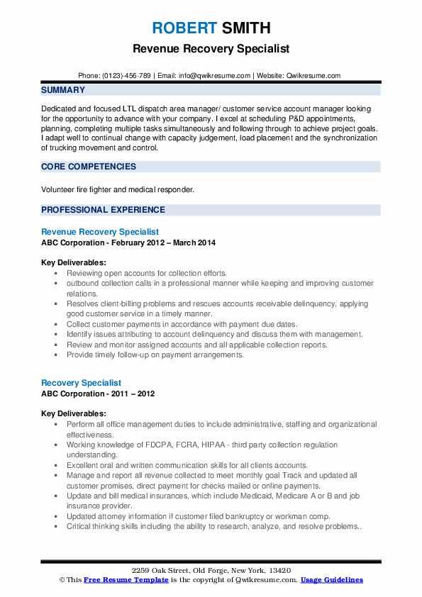 Revenue Recovery Specialist Resume Sample