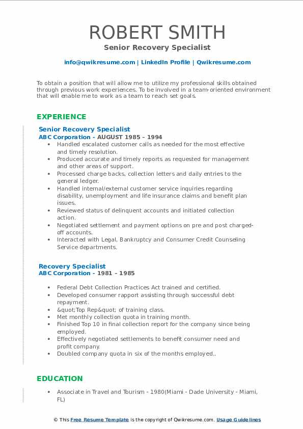 Senior Recovery Specialist Resume Format