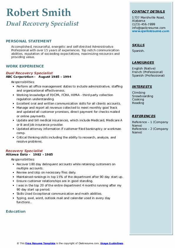 Dual Recovery Specialist Resume Model