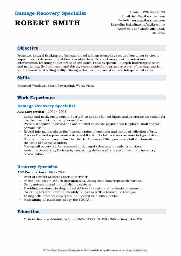 Damage Recovery Specialist Resume Sample