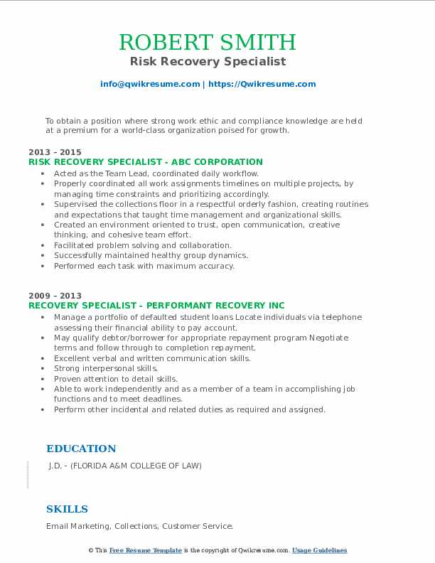 Risk Recovery Specialist Resume Example