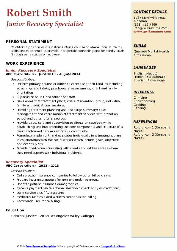 Junior Recovery Specialist Resume Sample