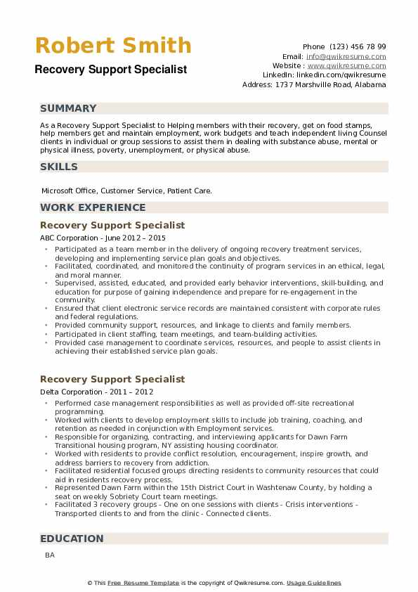 Recovery Support Specialist Resume example