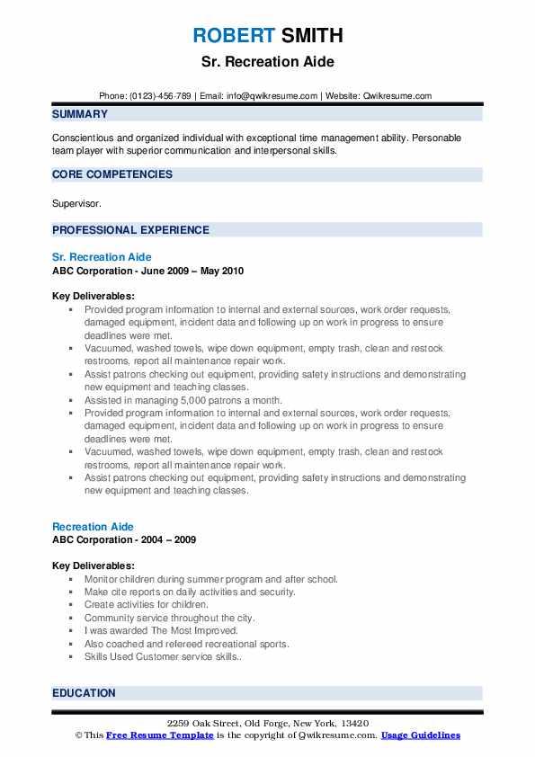 Sr. Recreation Aide Resume Format