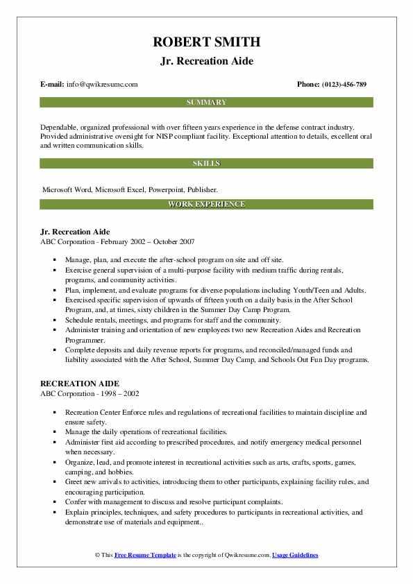Jr. Recreation Aide Resume Sample