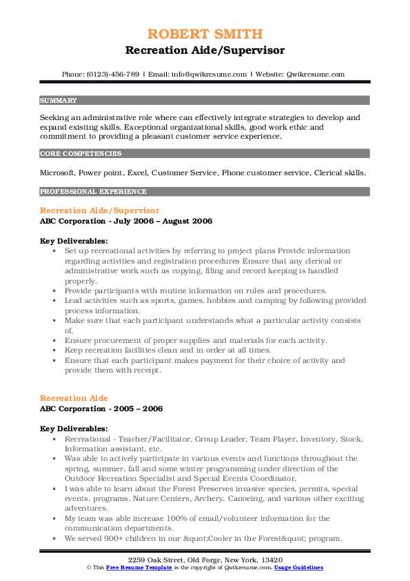 Recreation Aide/Supervisor Resume Example