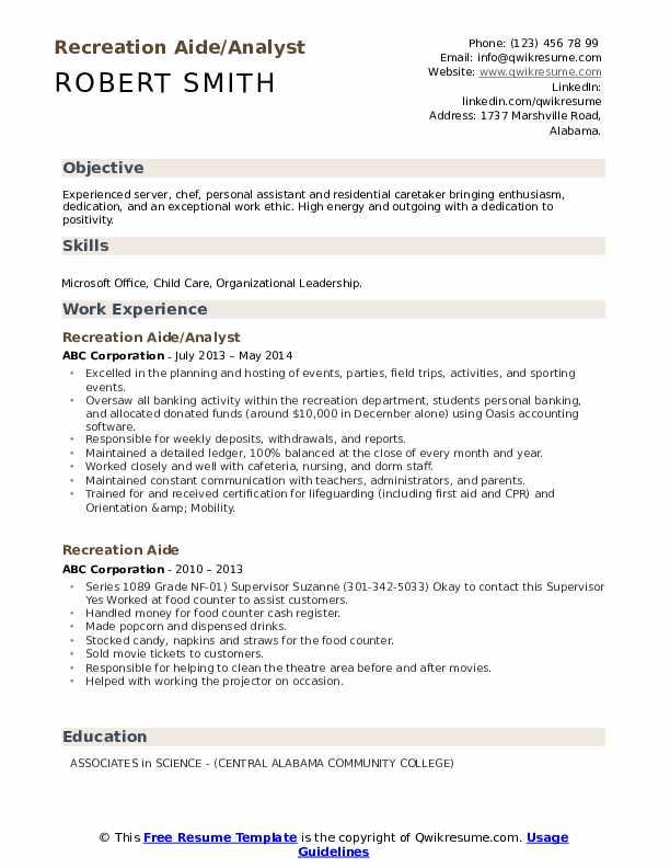 Recreation Aide/Analyst Resume Sample