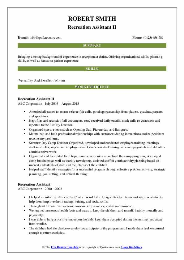 Recreation Assistant Resume Samples Qwikresume