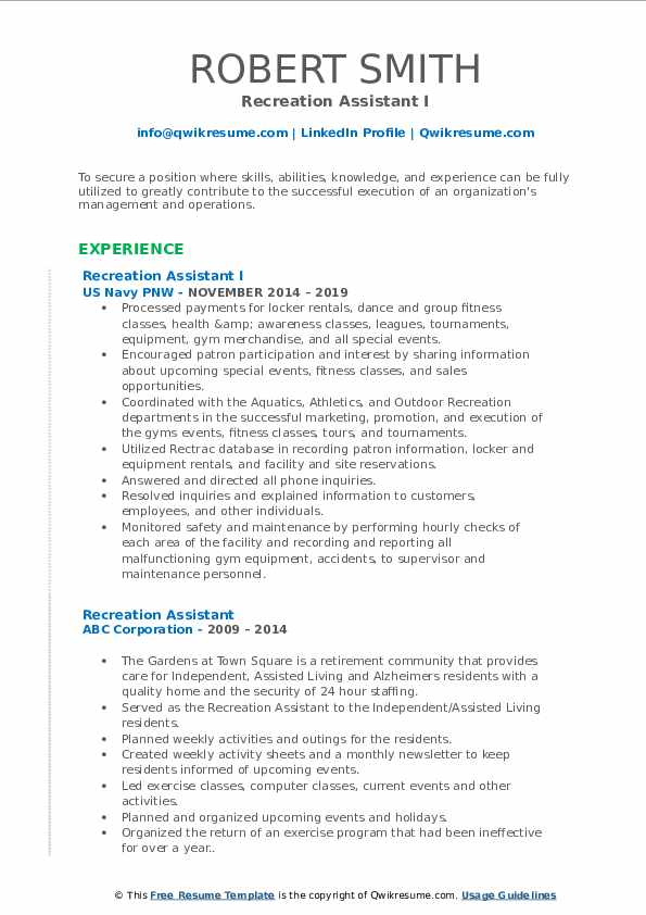 Recreation Assistant I Resume Template