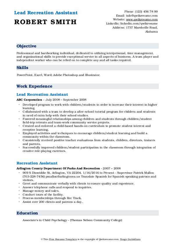 Lead Recreation Assistant Resume Example