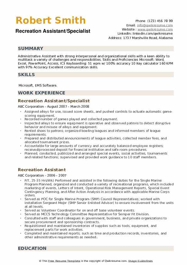 Recreation Assistant/Specialist Resume Format
