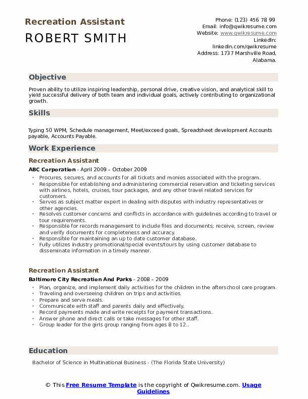 Recreation Assistant Resume example