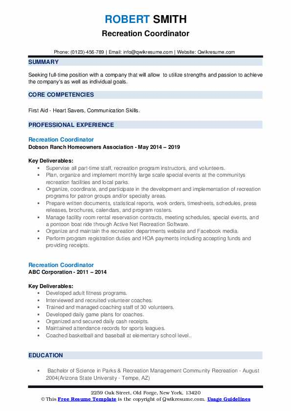 Recreation Coordinator Resume example