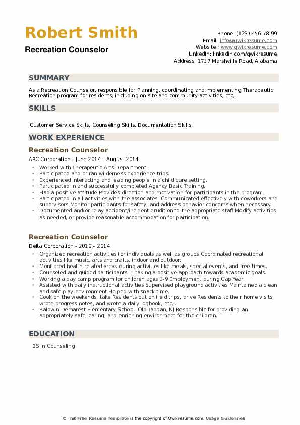 Recreation Counselor Resume example