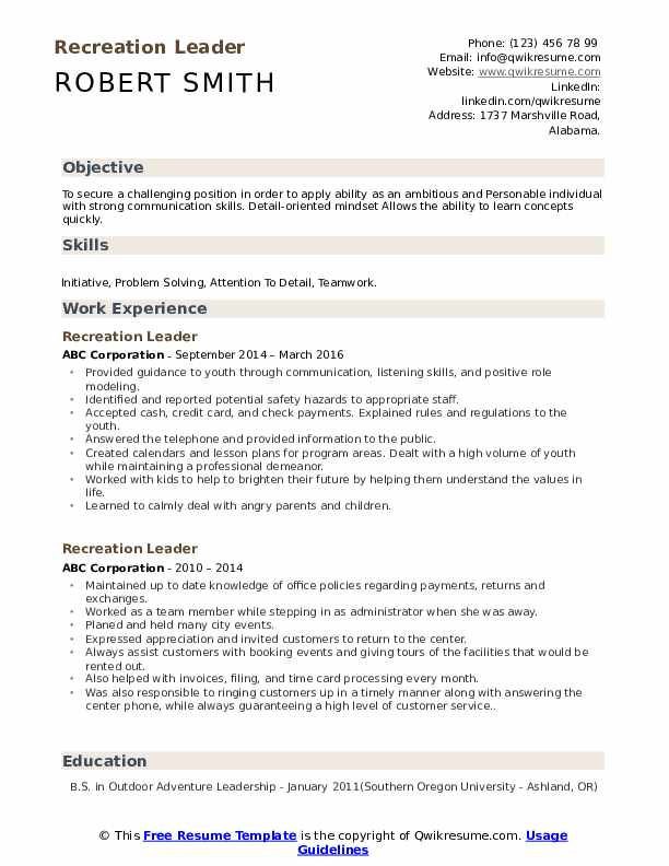 Recreation Leader Resume example