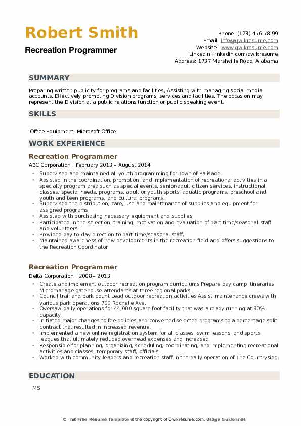 Recreation Programmer Resume example