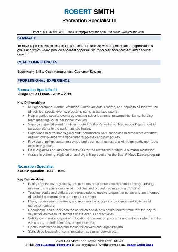 Recreation Specialist III Resume Model