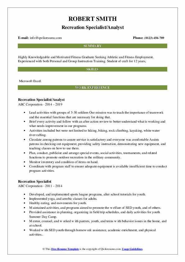 Recreation Specialist/Analyst Resume Sample