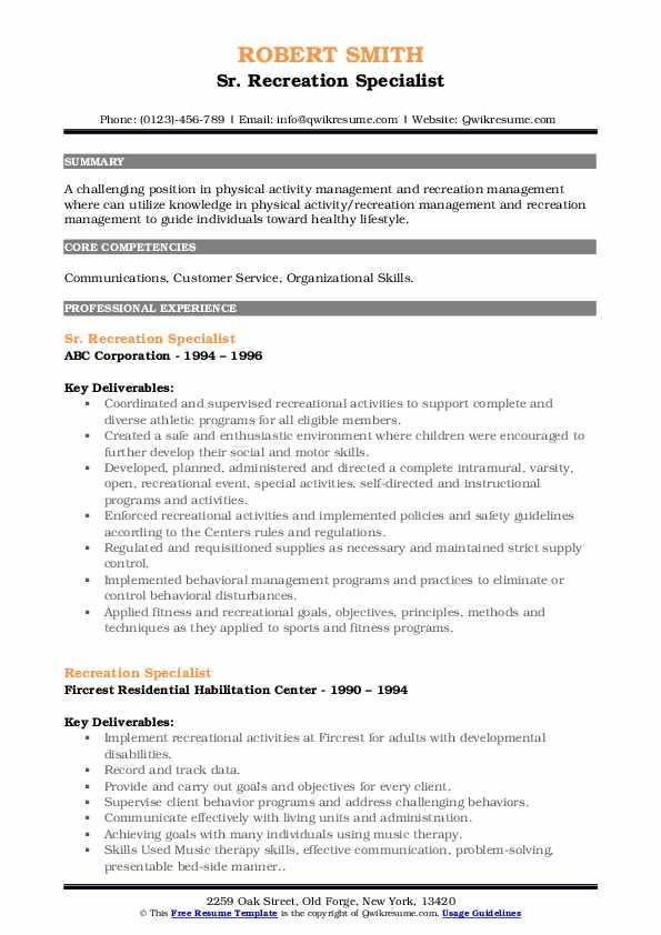 Sr. Recreation Specialist Resume Template