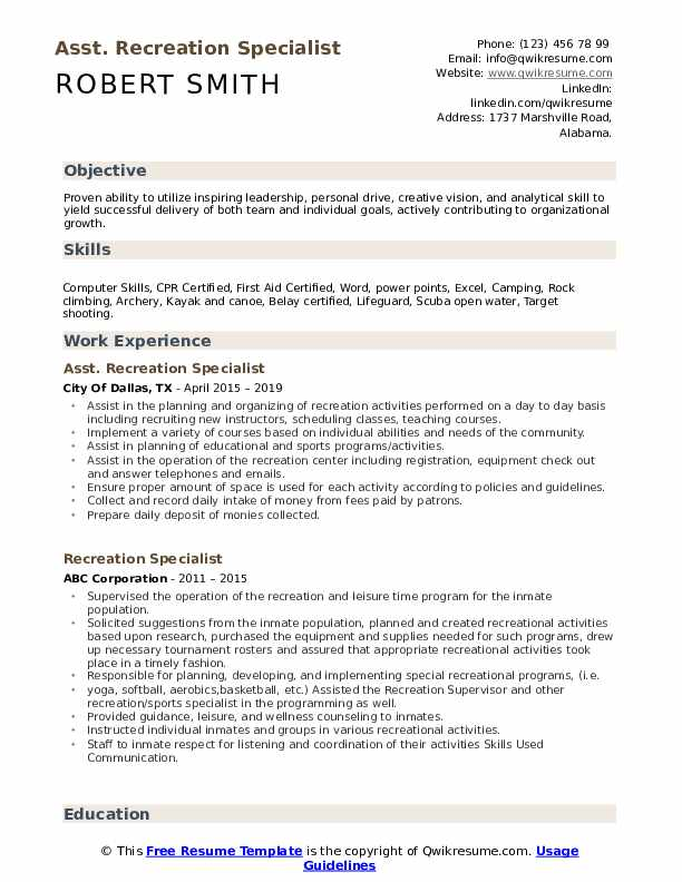 Asst. Recreation Specialist Resume Example
