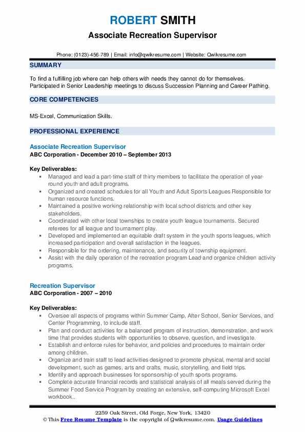 Recreation Supervisor Resume example